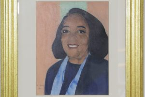 Portrait of Lucy Brown, founder of the John W. Jones Museum. Painted by local artist Ronald Hills,