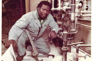 Portrait of Ira Heyward after becoming a journeyman plumber through USW 1000 at the Fallbrook Plant. Courtesy of Julia and Christa Heyward.